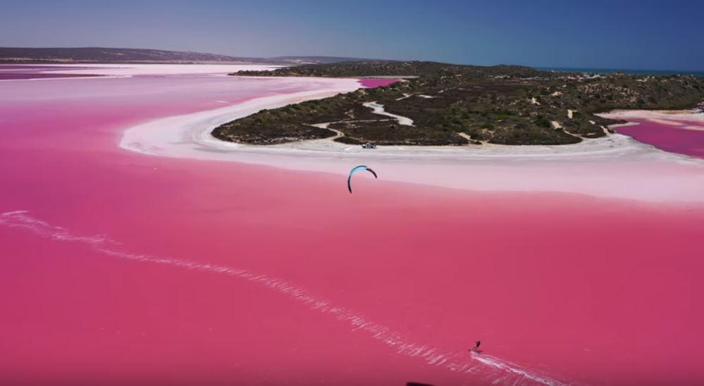Skitesurfing On A Pink Lagoon In Australia Video
