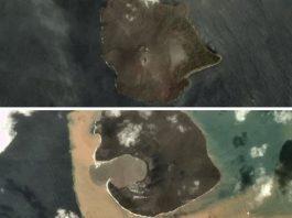 anak krakatau Erupting volcano now a quarter of its original size, Before and after pictures of Anak Krakatau eruption,