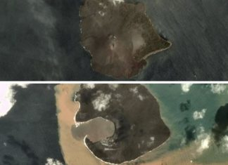 anak krakatau Erupting volcano now a quarter of its original size, Before and after pictures of Anak Krakatau eruption,