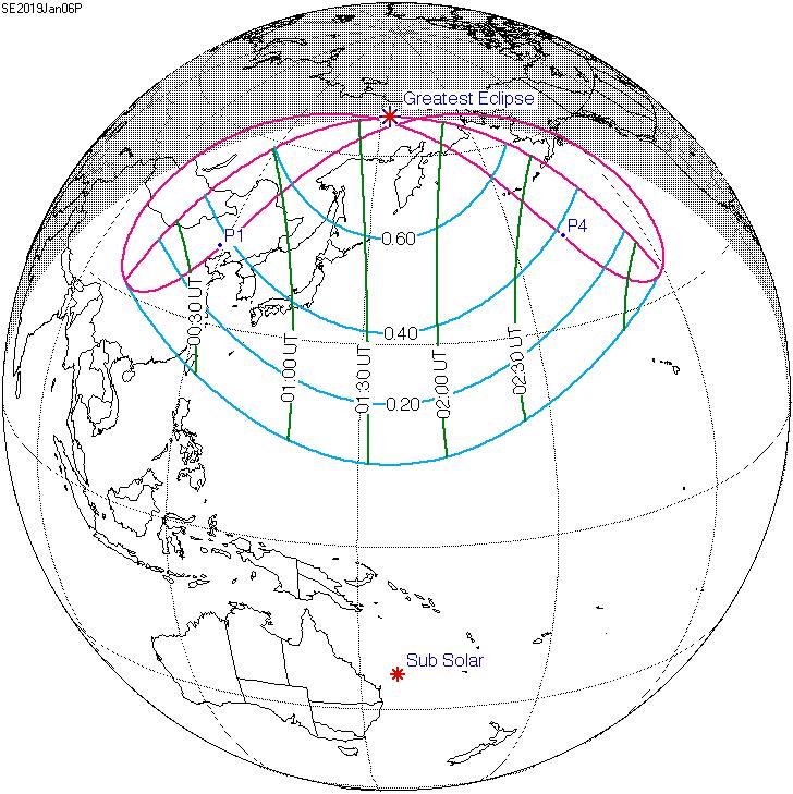 partial solar eclipse january 5-6 2019