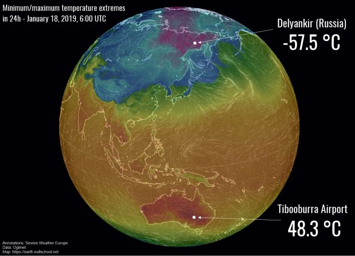 temperature extremes world january 18 2019
