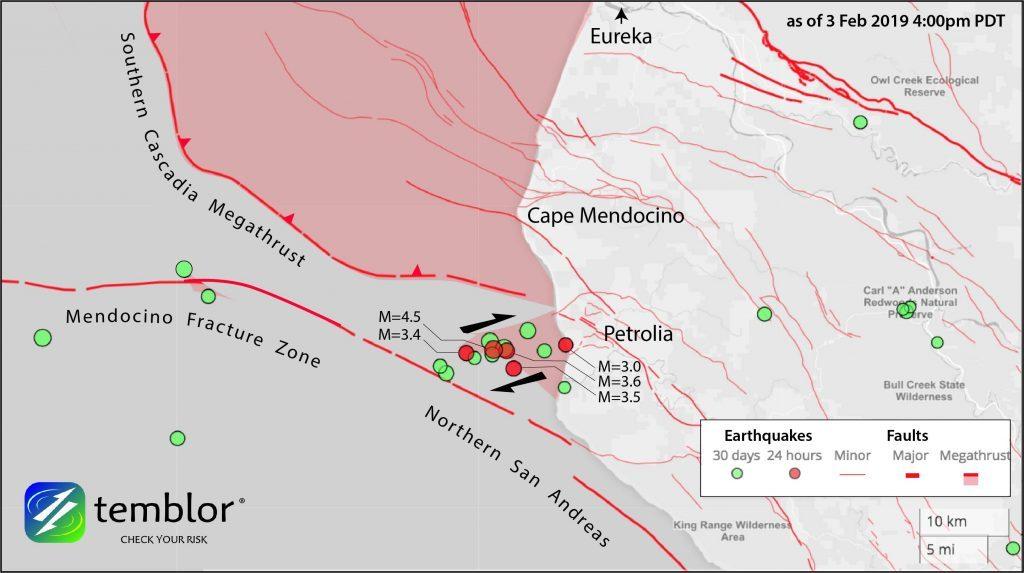 earthquake swarm petrolia, earthquake swarm petrolia cascadia, earthquake swarm petrolia san andreas, earthquake swarm petrolia february 3 2019
