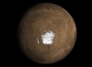mars south pole water, volcanism explains liquid water mars south pole, mars south pole water heat source