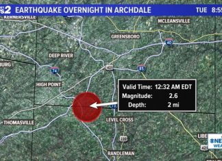 archdale nc earthquake, m2.6 archdale nc earthquake, earthquake rattles north carolina, earthquake boom north carolina