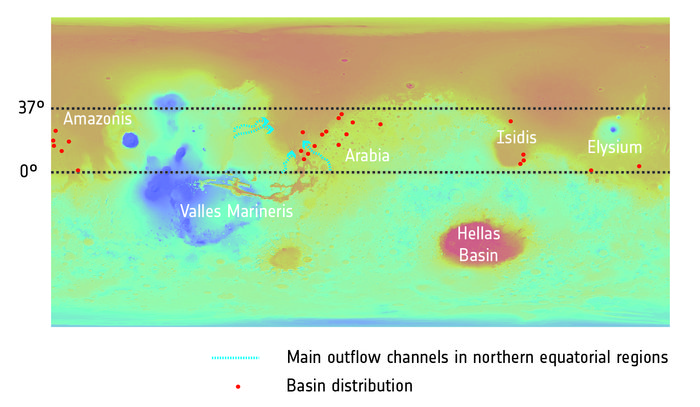 mars groundwater system, mars water basins, mars water basins discovered