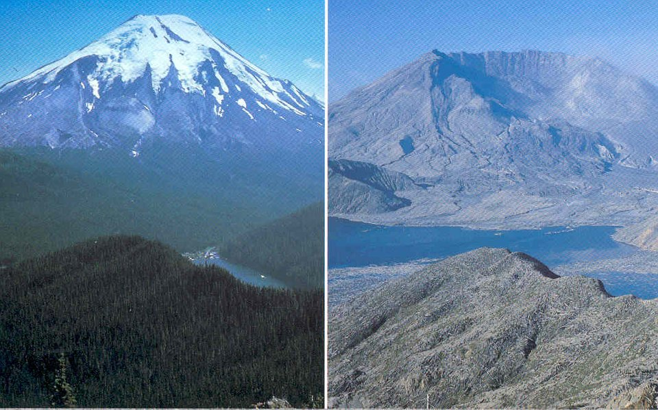 Picture: Mt St Helens before and after its deadly 1980 eruption - Strange Sounds