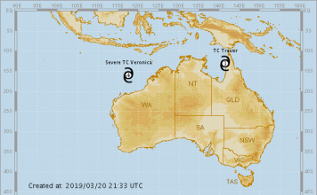 tropical cyclone veronica march 2019, tropical cyclone veronica and trevor march 2019 map