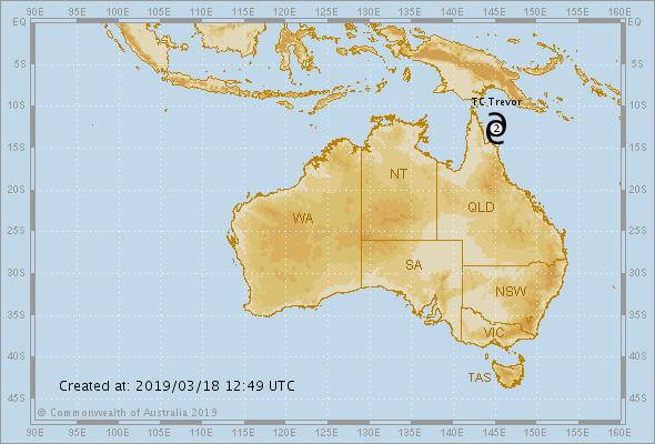 tropical storm trevor australia, tropical storm trevor australia march 2019, tropical storm trevor australia map