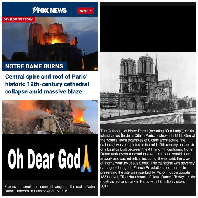 Notre Dame on Fire in Paris