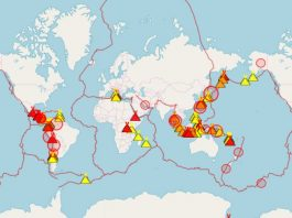 map erupting volcanoes, map erupting volcanoes april 2019, eruption april 2019 map, map eruptions april 2019