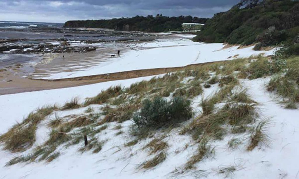 Victoria's Cape Paterson looked like a snowfield after it was hit by a large hailstorm. Photograph: Luke Watson/Twitter