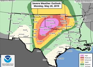 high risk weather outlook oklahoma texas tornado flooding