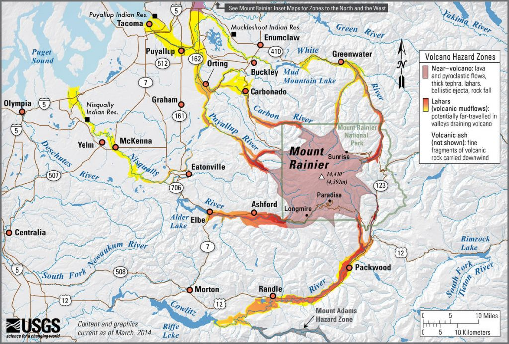 rainier lahar risk map, mount rainier lahar risk map