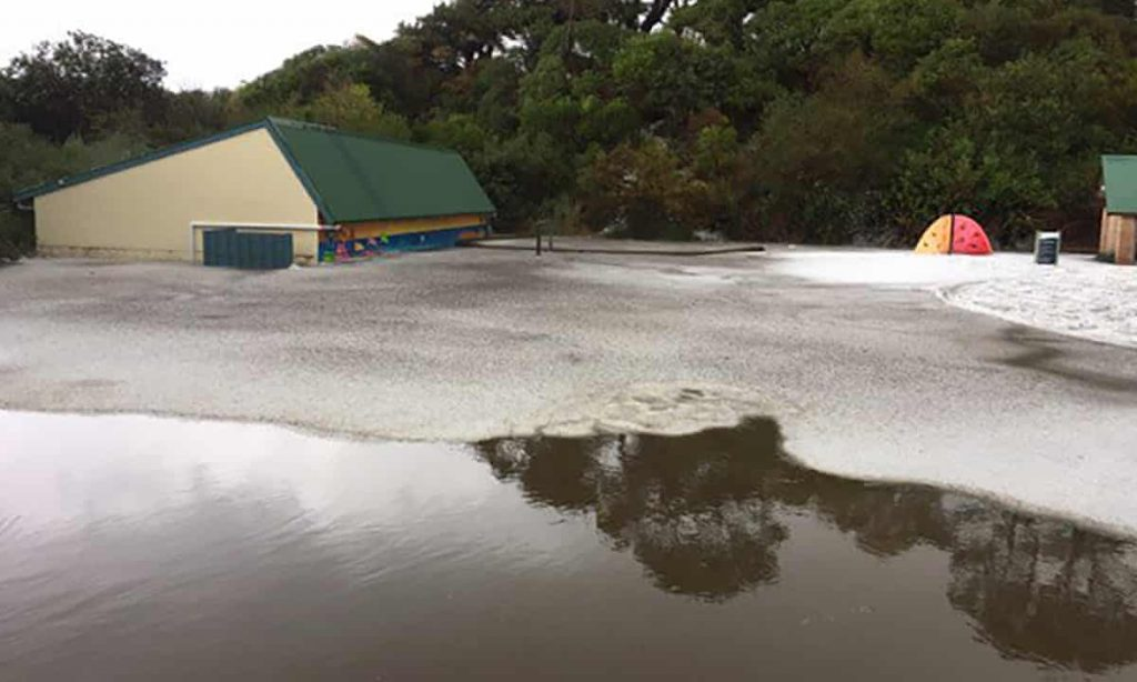 River of hail in Cape Paterson is 132km south-east of Melbourne. Photograph: Luke Watson/Twitter