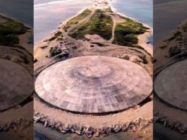 A concrete dome built on Runit Island in the late 1970s to contain waste from massive atomic bomb tests conducted after World War II could be leaking toxic sludge into the sea