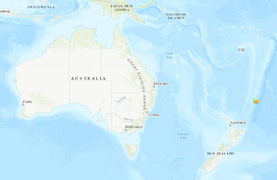 M6.3 earthquake hits Kermanec island on June 16, 2019 - Tsunami warnings for New Zealand. Earthquake map via USGS
