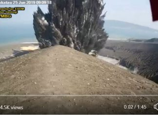 Anak Krakatau eruption on June 25 2019 video, Anak Krakatau eruption on June 25 2019 video picture