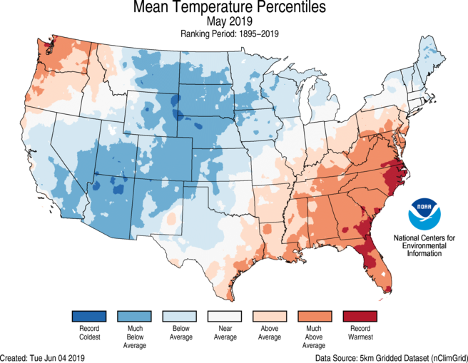 May was characterized by warm extremes in the Southeast and simultaneously cold extremes in the north-central region.