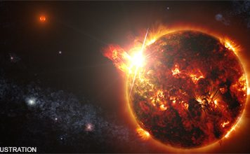 A Giant Stellar Eruption Detected for the First Time, first solar flare extreterrestrial star recorded