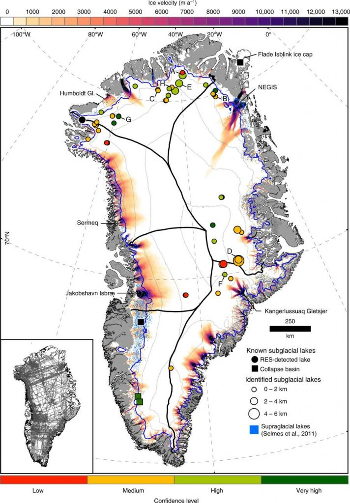 lakes beneath greenland ice sheet map, 60 lakes discovered beneath greenland ice sheet map, lakes beneath greenland ice sheet map june 2019
