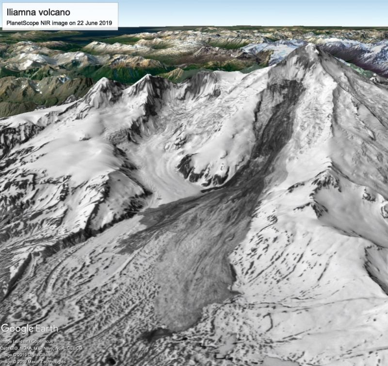 Giant landslide on the flank of Iliamna volcano in Alaska on June 20, Giant landslide on the flank of Iliamna volcano in Alaska on June 20 volcanic adivory, Giant landslide on the flank of Iliamna volcano in Alaska on June 20 pictures, Giant landslide on the flank of Iliamna volcano in Alaska on June 20 video