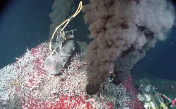 ocean water level sinks, Every year, billions of gallons of ocean water fall into the Earth at tectonic plate boundaries, then gush back out at hydrothermal vents like the one seen here. A new study shows that this deep water cycle may contribute to hundreds of feet of sea level loss over time