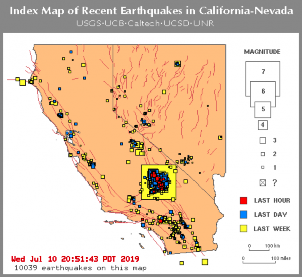10000 earthquakes california july 2019, california earthquakes, seismic unrest california july 2019