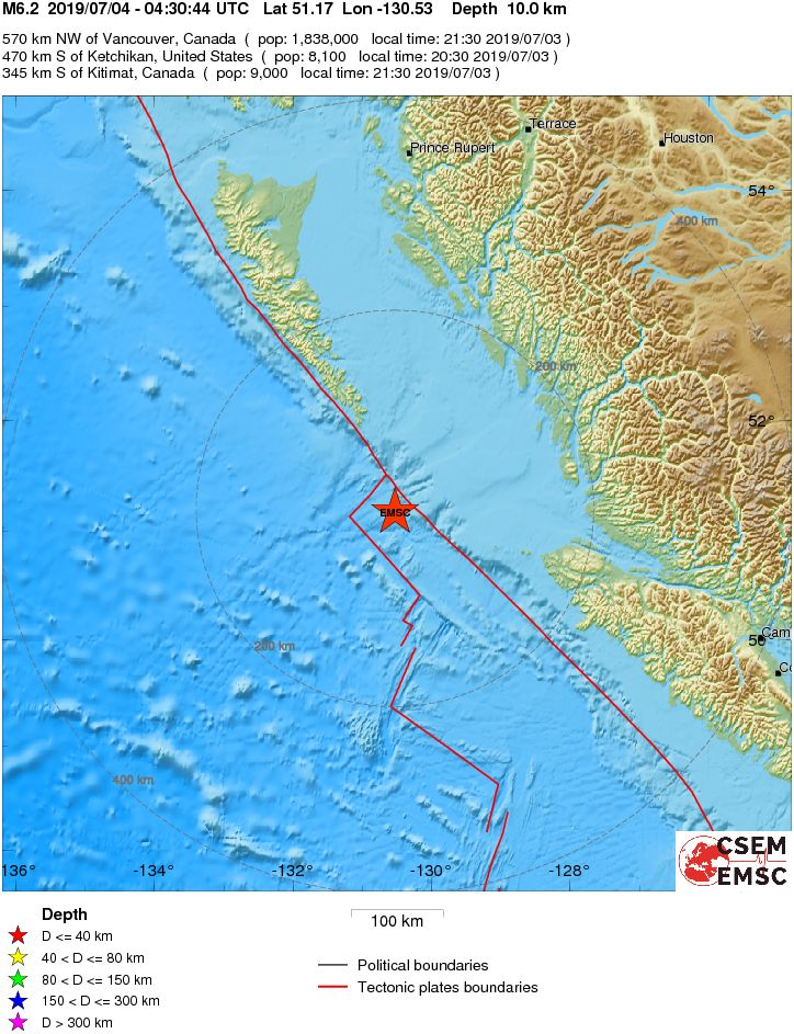 M6.2 earthquake hits off BC coast along the Cascadia subduction zone on July 4 2019