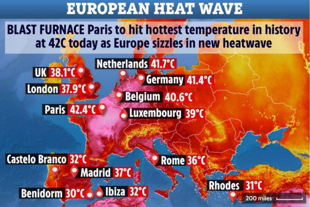 Europe heat wave in July 2019, Europe heat wave in July 2019 map, Europe heat wave in July 2019 video