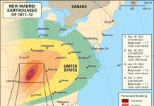 new madrid earthquakes 1811-1812, new madrid earthquakes 1811-1812 facts, new madrid earthquakes 1811-1812 strange happenings,Map of the New Madrid earthquakes 1811-1812