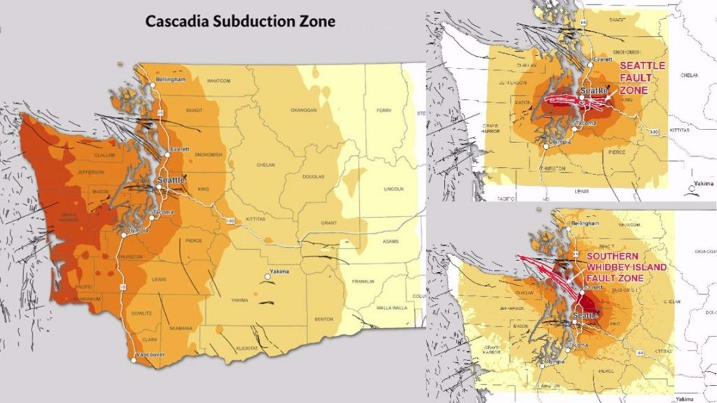 seattle earthquake fault lines, 3 major fault lines that could destroy Seattle: The Cascadia subduction Zone, the Seattle Fault and the South Whidbey Island Fault, dangerous fault lines in seattle, seattle earthquake faults