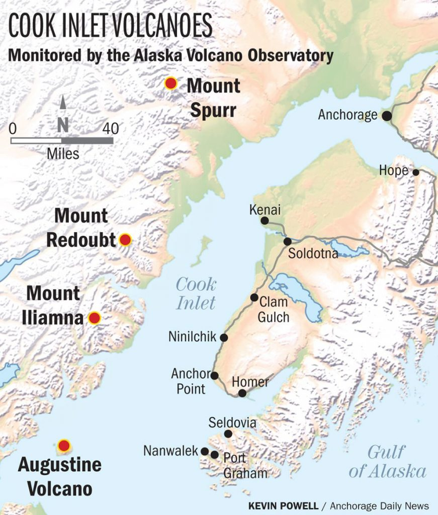 volcanoes around anchorage, cook inlet volcanoes, Cook Inlet volcanoes - Mount Iliamna, Augustine Volcano, Mount Redoubt and Mount Spurr - could have devastating consequences for Anchorage and  southcentral Alaska in case of a big eruptions