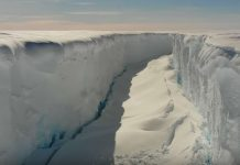 Giant cracks antarctica Brunt ice shelf, cracks splitting an Antarctic ice shelf in two, Chasm 1 and Halloween crack two giant rift on the Brunt ice shelf
