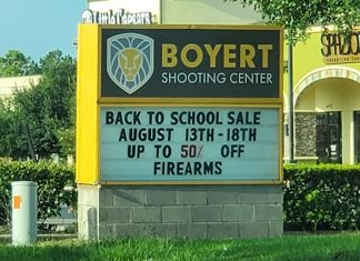 Back to school sale sign for firearms company in Texas