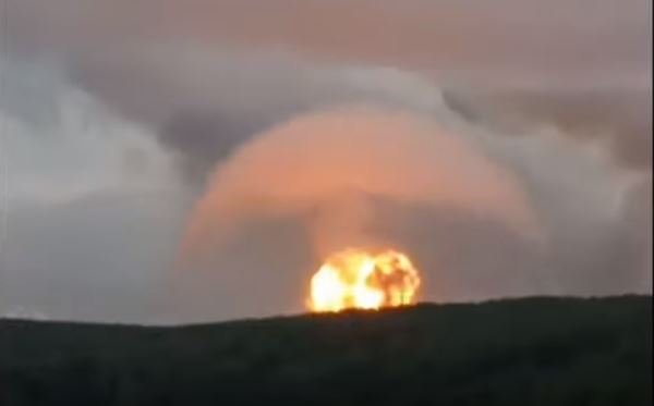 massive explosions at ammunition depot in Russia on August 5, 2019, explosions military arms depot siberia videos