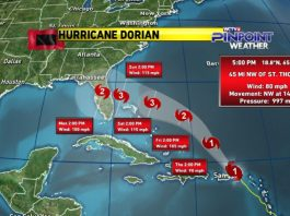 hurricane dorian, Dorian is now expected to be a major Category 3 Hurricane upon landfall next Sunday, hurricane dorian florida, hurricane dorian landfall,hurricane dorian map, hurricane dorian landfall Florida
