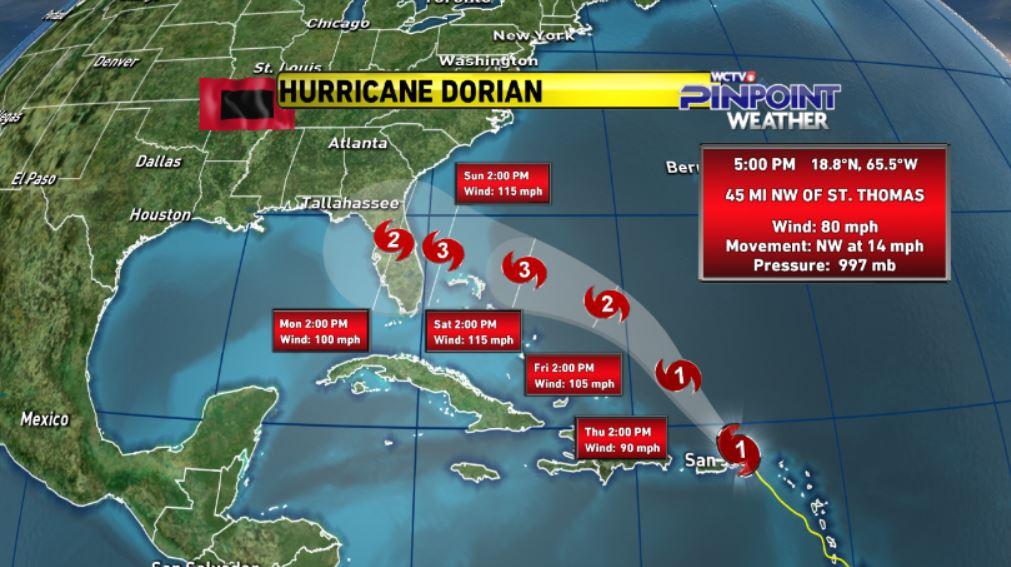 hurricane dorian, Dorian is now expected to be a major Category 3 Hurricane upon landfall next Sunday, hurricane dorian florida, hurricane dorian landfall,hurricane dorian map, hurricane dorian landfall Florida