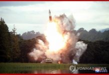 North Korea fired two projectiles presumed to be short-range ballistic missiles into the East Sea on Saturday
