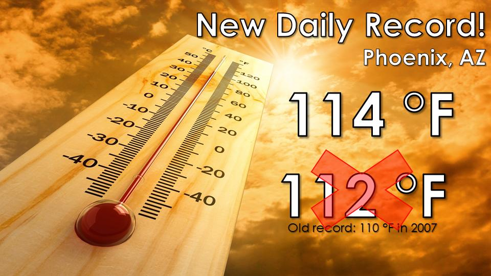 phoenix temperature record, temperature record phoenixNew daily temperature record for Phoenix on August 21 2019