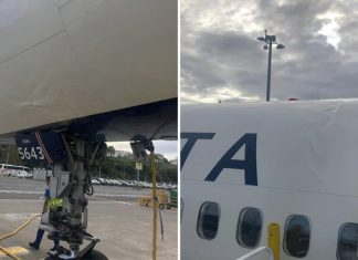 Boeing 757 passenger plane landed so roughly its fuselage was bent out of shape by the impact