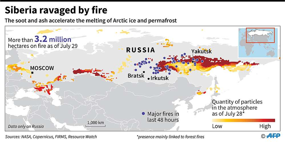 Wildfires in Russia burns more than 3 million hectares of forest