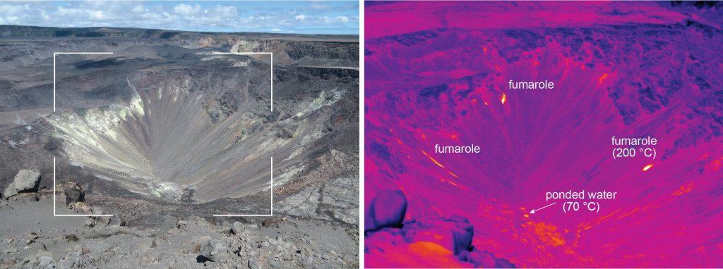 water kilauea volcano crater, water kilauea volcano crater pictures, water kilauea volcano crater thermal images, water kilauea volcano crater video, video ponds steaming kilauea volcano