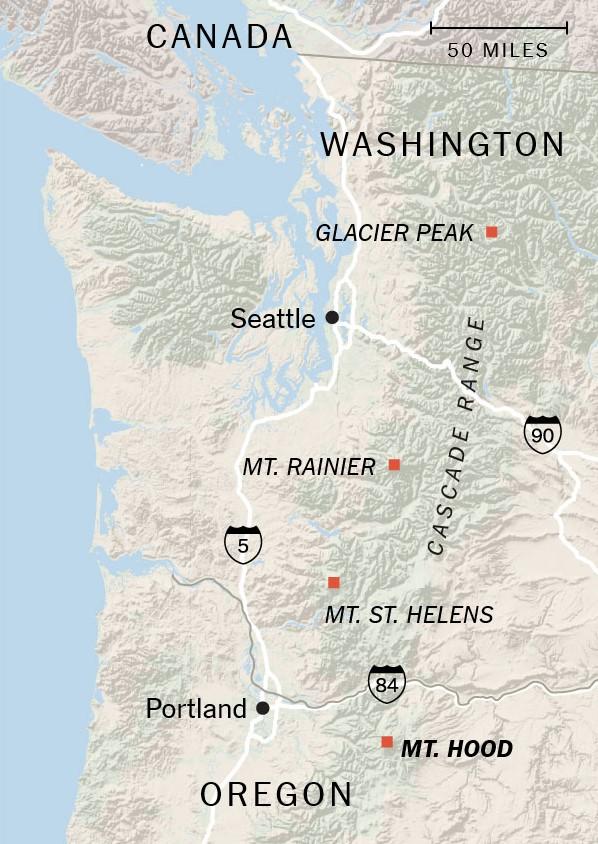 cascade volcano map, cascade volcanoes, cascade volcanoes map