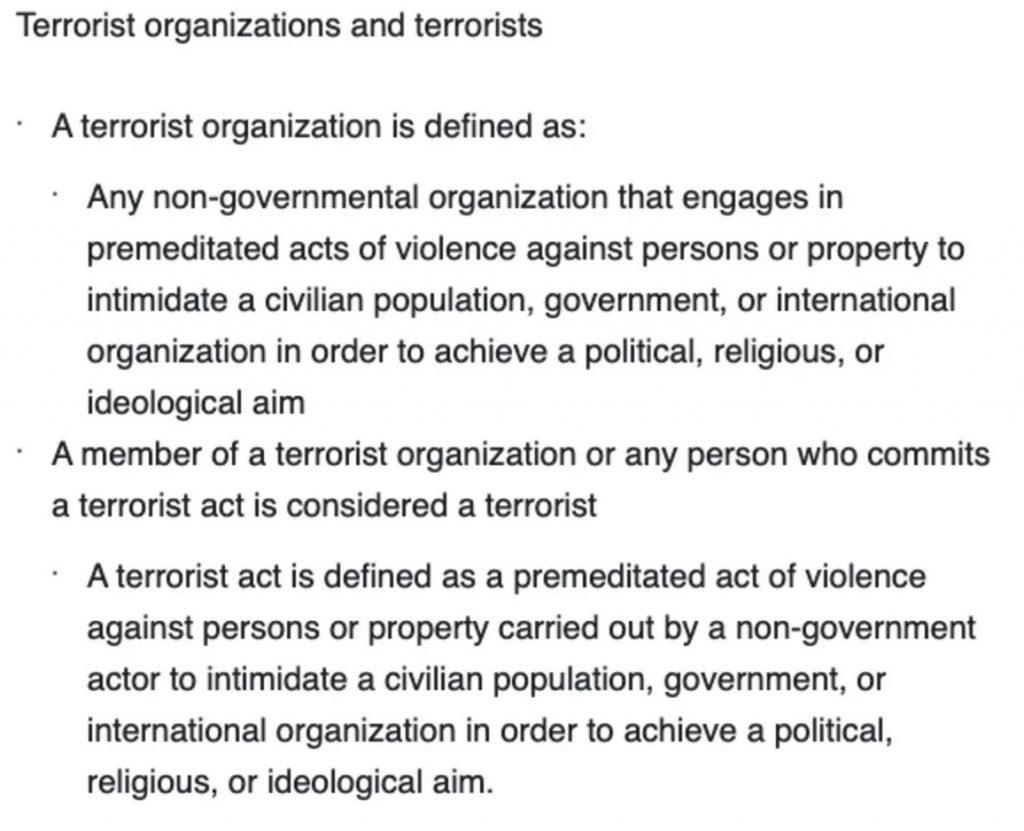 Facebook terrorism definition