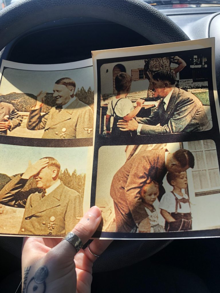 Hitler pictures fall out of a book at yardsale in USA