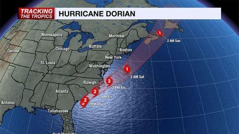 Hurricane Dorian track update