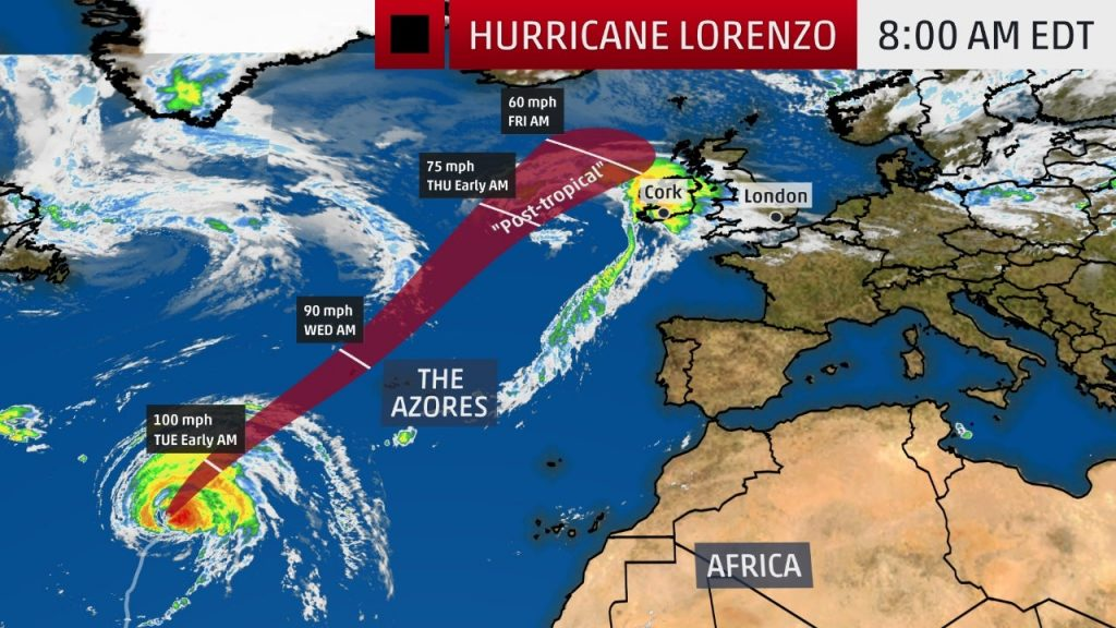Hurricane Lorenzo forecast, Hurricane Lorenzo forecast map, Hurricane Lorenzo forecast video