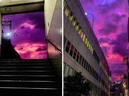 purple sky japan, purple sky japan video, purple sky japan pictures, purple sky japan typhoon hagibis