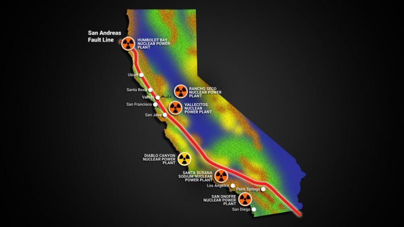 5 nuclear power plants in California are built in close proximity to the San Andreas fault line, nuclear plants san andreas faults california, diablo canyon earthquake risk