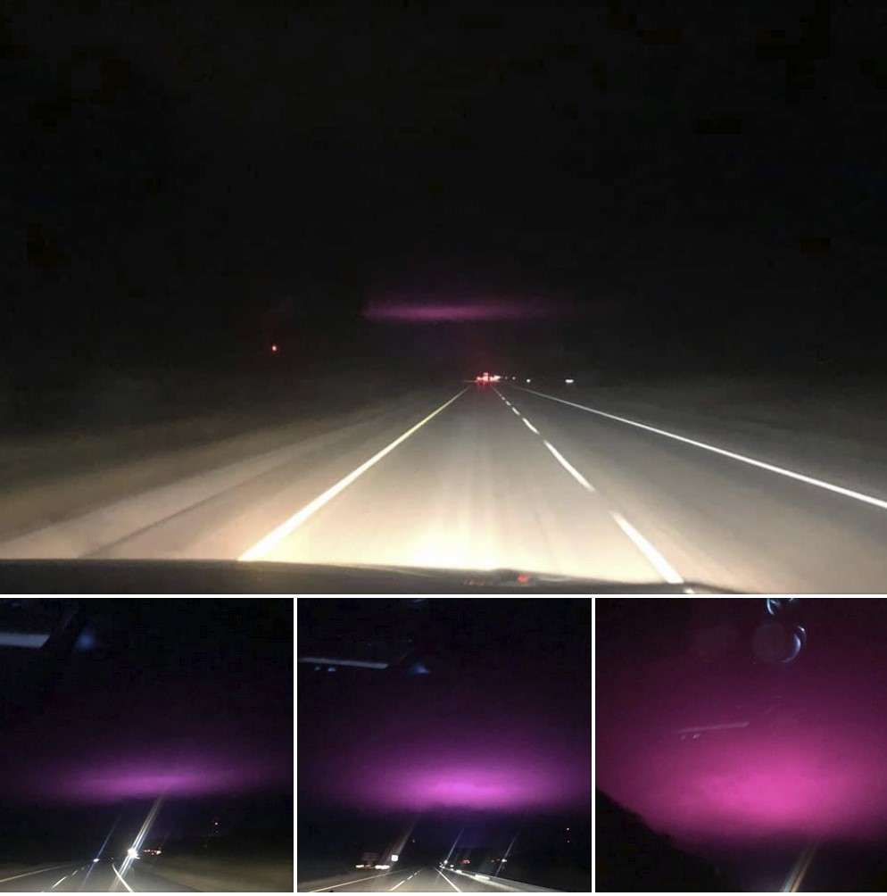 Mysterious purple lights in the sky over Wisconsin